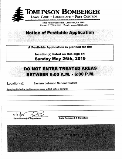 Notice of Pesticide Application (click here for details)