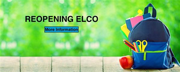 Photo of backpack with link to reopening ELCO page